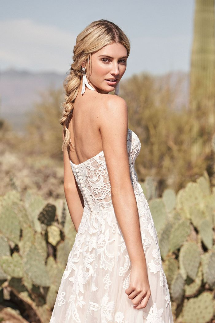Lillian West Style 66171 Sweetheart Cotton Lace A-Line Dress with Illusion Bodice
