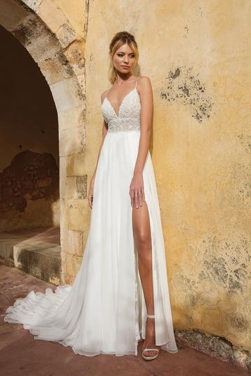 Justin Alexander Style 88035 Heavily Beaded Illusion Bikini Bodice A-line Gown