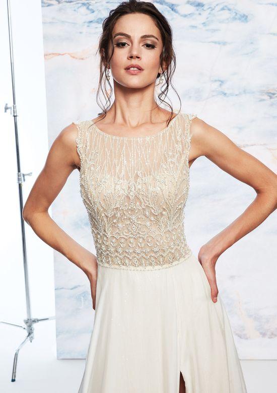 Justin Alexander Signature Style 99078 Sabrina Beaded Illusion Bodice Dress with Slit