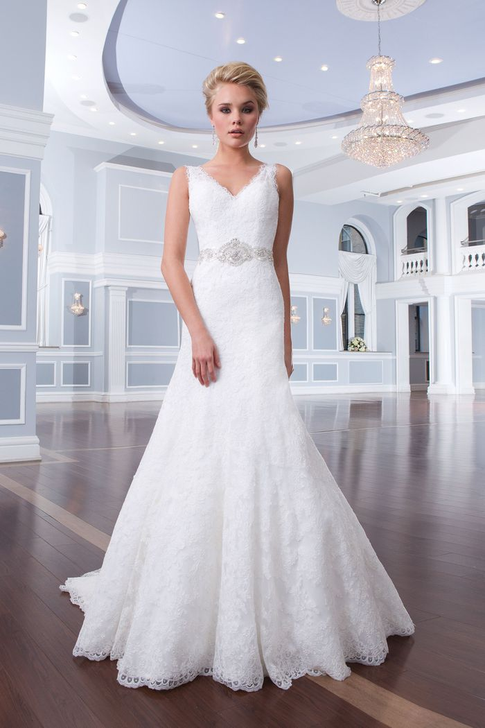 Lillian West Style 6302 Lace Tiered A-Line Dress with V-Neck and Back