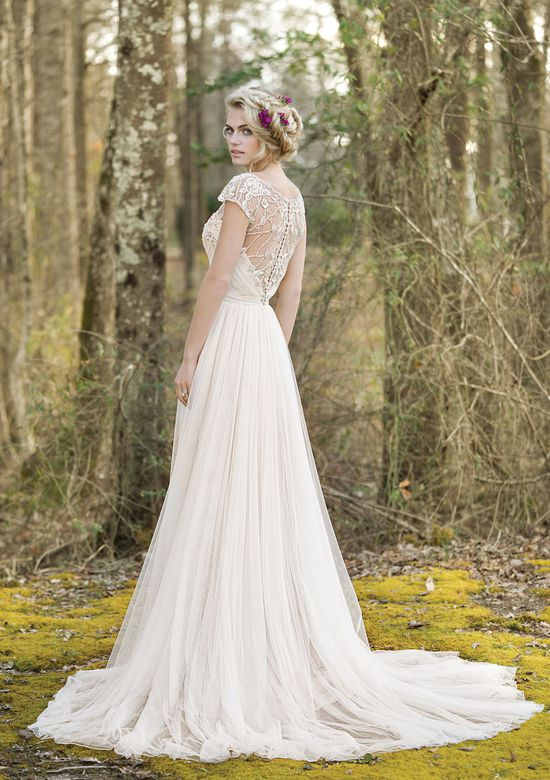 Lillian West Draped A-Line Gown with Illusion Beaded Back and Cap Sleeves