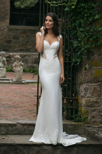 Sincerity Bridal Style 44051 Crepe Gown with Illusion Lace Back and Train
