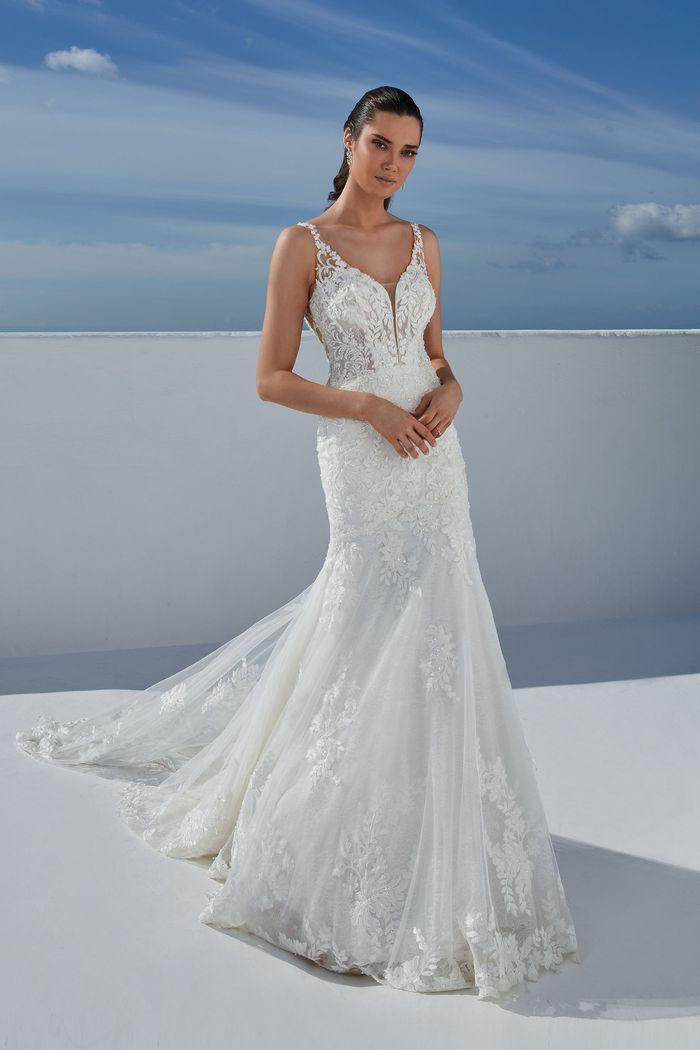 Justin Alexander Style 88183 Bailee Lace Trumpet Dress with Sheer Train