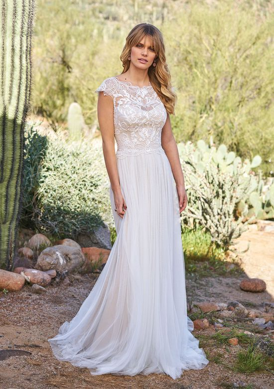 Lillian West Illusion Sabrina Neckline and Soft Tulle Skirt Gown