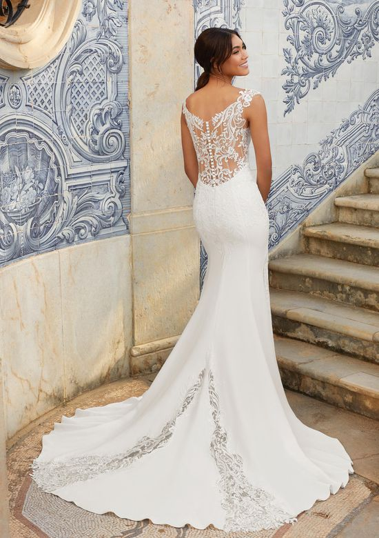 Sincerity Bridal Style 44165 V-Neckline Venice Lace and Crepe Gown
