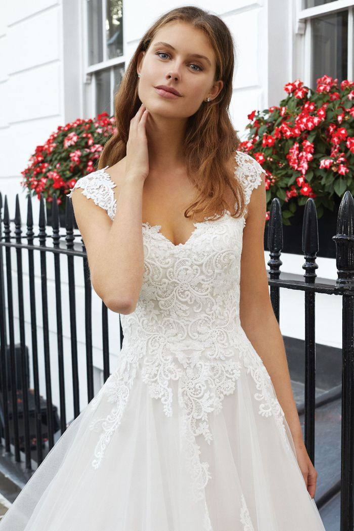 Adore by Justin Alexander Style 11125 Sweetheart Ball Gown with Venice Lace and Detachable Cap Sleeves