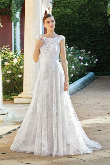 Sincerity Bridal Style 44219 A-Line Gown with Lace and Floral Motif Sparkle Tulle Underlay