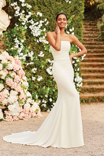 Sincerity Bridal Style 44158 Strapless Ruched Fit and Flare Gown