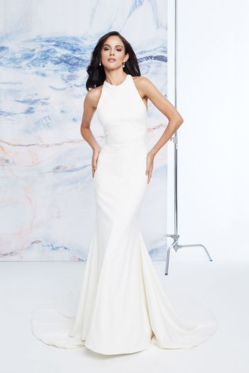 Justin Alexander Signature Style 99076 Jewel Collar Crepe Fit and Flare Dress