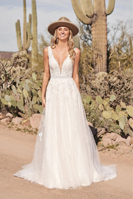 Lillian West Style 66170 Plunging V-Neck A-Line Gown with Open Back
