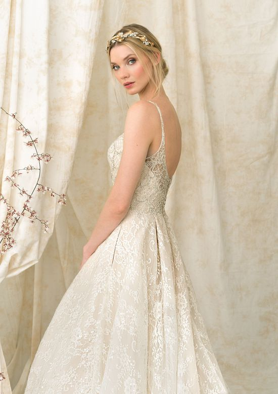 Justin Alexander Signature Chantilly Lace Ball Gown with Dramatic Cathedral Train