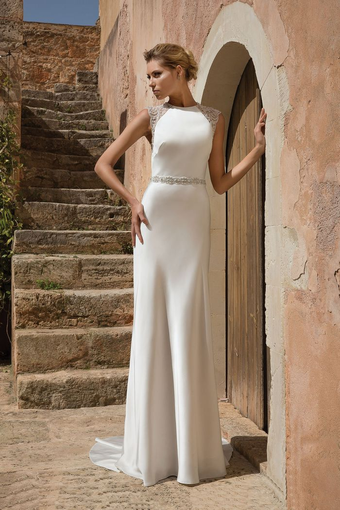Justin Alexander Style 88042 Natural Waist Slim A-line with Beaded Cap Sleeves