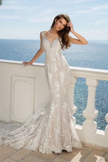 Justin Alexander Style 88081 Sequined Lace V-Neck Fit and Flare Dress