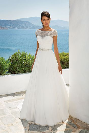 Justin Alexander Style 8799 Chiffon Ball Gown with Beaded Portrait Neckline