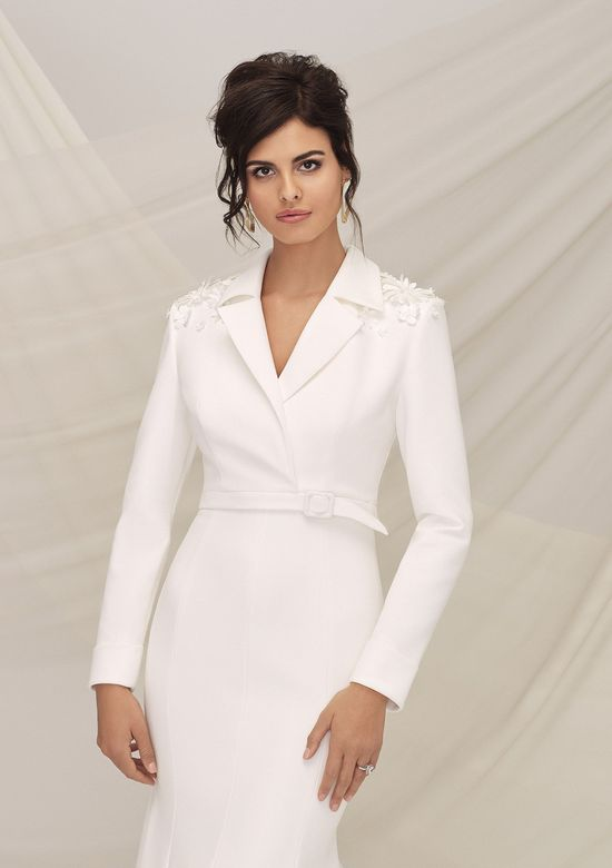Justin Alexander Signature Style 99118 RIPLEY Modern V-Neck Crepe Fit and Flare Gown with Moto Jacket