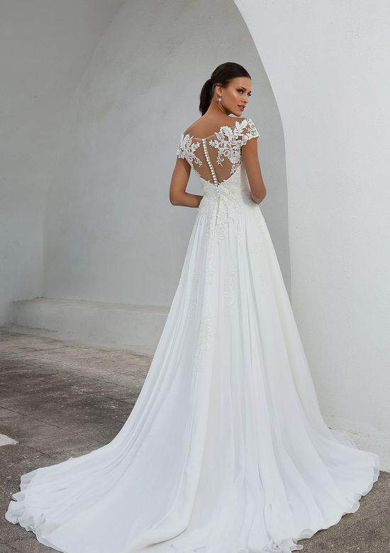 Justin Alexander Style 88013 Off the Shoulder Lace and Chiffon A-Line Gown