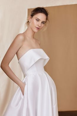 Justin Alexander Signature style 99094 Silk Mikado Cuff Ball Gown With Slit