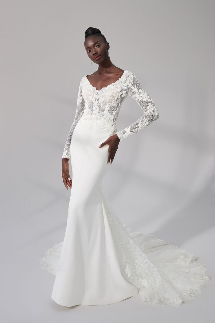 Justin Alexander Signature Style 99174 Lewis Beaded Crepe Fit and Flare Gown with Long Sleeves and Tulle Train