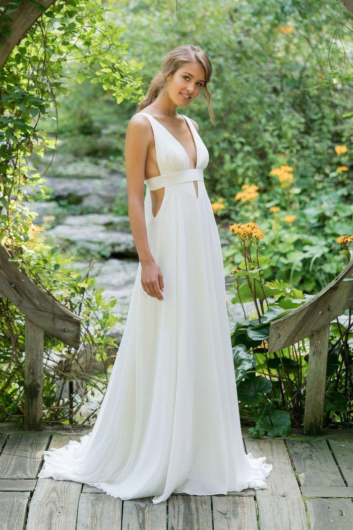 Lillian West Style 66001 V-Neck Chiffon Slim A-Line Gown