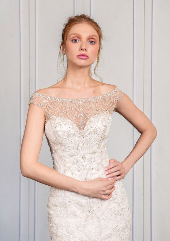 Justin Alexander Signature Style 99016 Fit and Flare with Embroidered Illusion Neckline