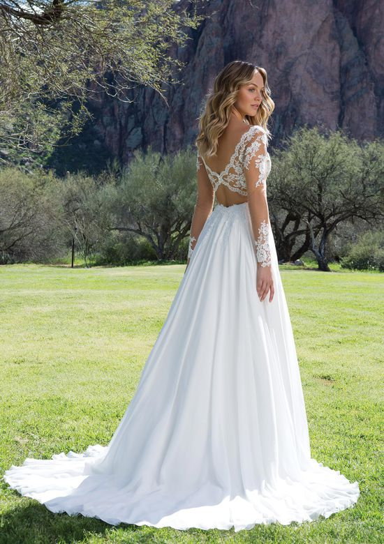 Sweetheart Gowns Style 1130 Lace V-Neck Gown with Illusion Sleeves and Keyhole Back