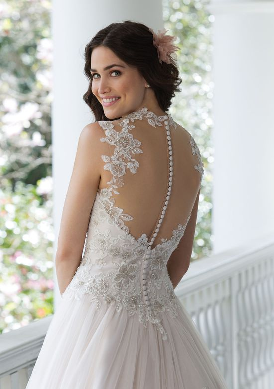 Sincerity Bridal Embroidered Lace Gown with Full Tulle Skirt