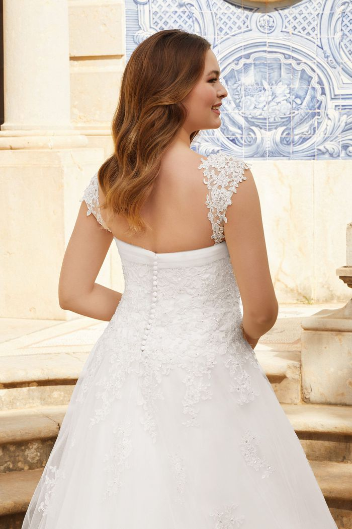 Sincerity Bridal Style 44126SL Lightly Beaded Corded Lace Detachable Straps