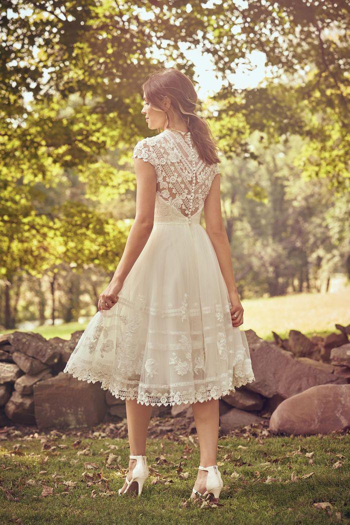 Lillian West Style 66068 Crew Neckline Knee Length Lace Dress