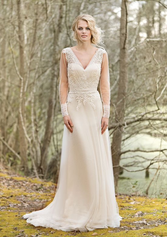 Lillian West V-Neck Gown with Illusion Long Sleeves and Lace Back