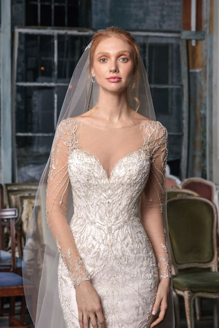 Justin Alexander Signature Style 99014 Long Sleeve Illusion Beaded Mermaid Gown