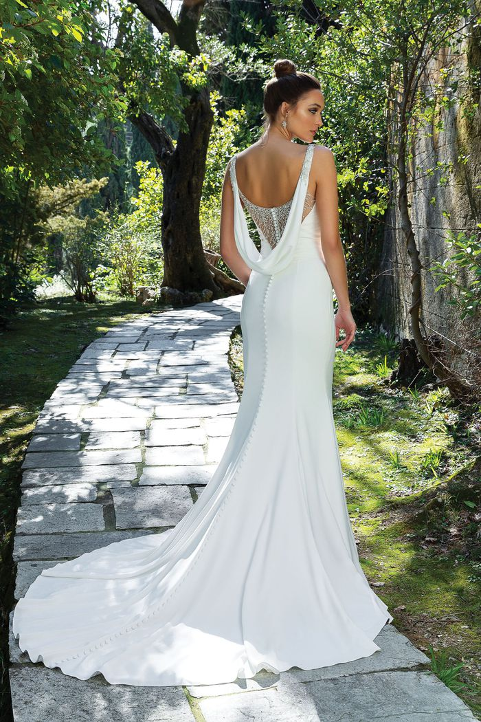 Justin Alexander Style 88108 Fit and Flare Gown with Pleated Waistline and Beaded Back