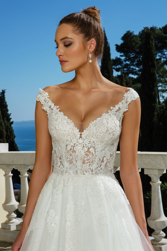 Justin Alexander Style 88117 V-Neck with Straps Ball Gown
