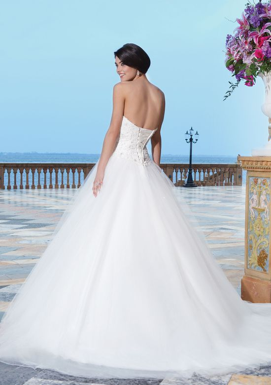 Sincerity Bridal Style 3840 Tulle; corded lace; beaded lace ball gown complemented by a sweetheart neckline