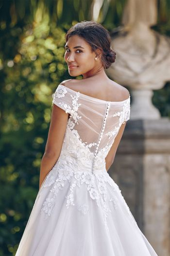 Sincerity style 44132 Off the Shoulder Ball Gown with Embroidered Lace