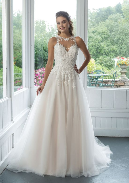 Sweetheart style 11082 Illusion Jewel Collar Tulle Ball gown with Venice Lace Appliques