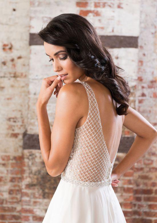 Justin Alexander Signature  Beaded Net over Sweetheart Bodice with Silk Chiffon Skirt