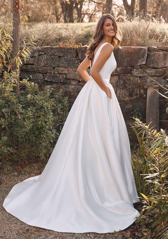 Justin Alexander Style 88136 Alina Mikado Ball Gown with Box Pleats and Cummerbund