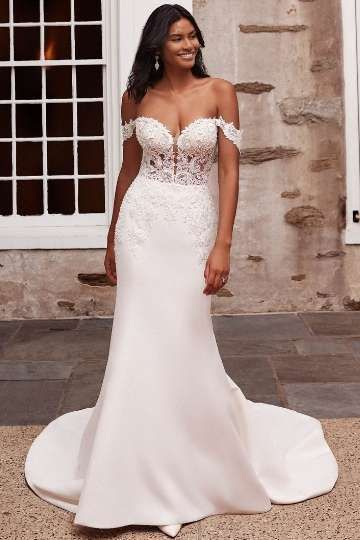 Sincerity Bridal Style 44267 Satin Fit and Flare Gown with Beaded Venice Lace Appliqués