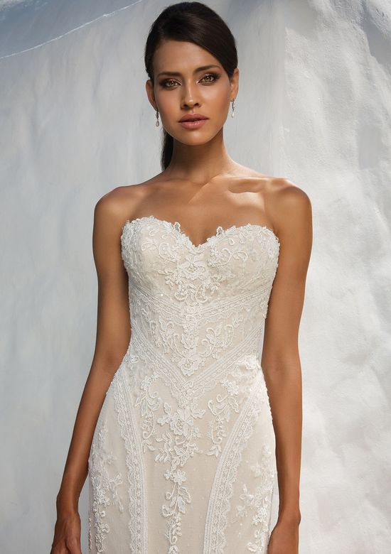 Justin Alexander  Sequined Lace Fit and Flare Wedding Dress