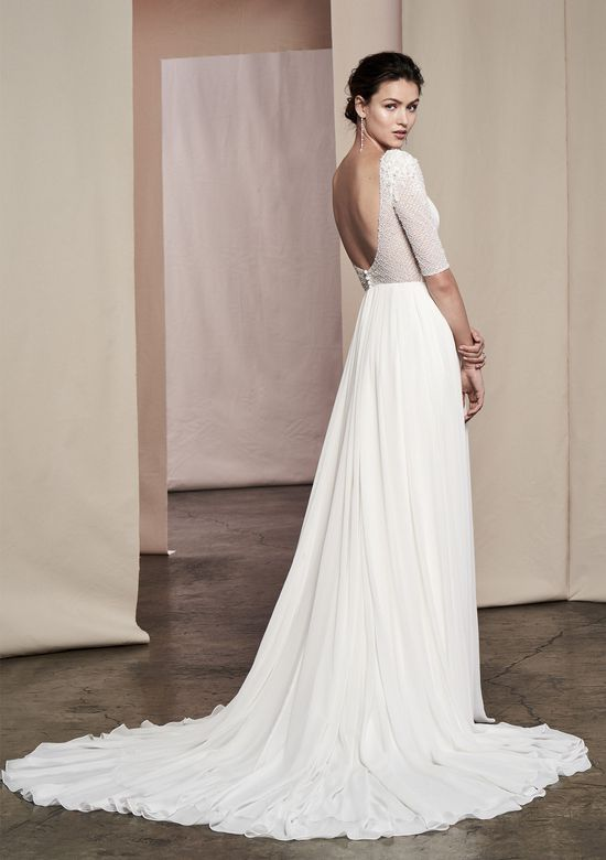 Justin Alexander Signature Style 99103 Delphine Beaded Sleeve A-Line Gown with Scoop Back