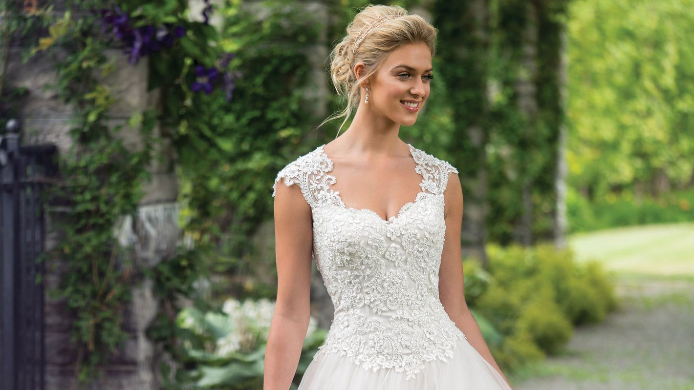 - Style 3982: Beaded Corded Lace and Tulle Ball Gown with Queen Anne Neckline