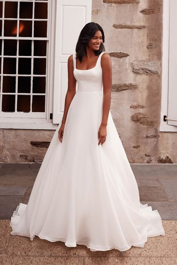 Sincerity Bridal Style 44269 Velvet Square Neckline Ball Gown with Organza Skirt