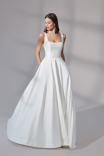 Justin Alexander Signature Style 99179 Charleston Stretch Mikado Ball Gown with Square Neckline