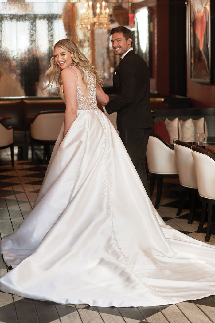 Justin Alexander Style 8937PS Mikado Box Pleat Plus Size Ball Gown with Beaded Illusion Square Cut Back