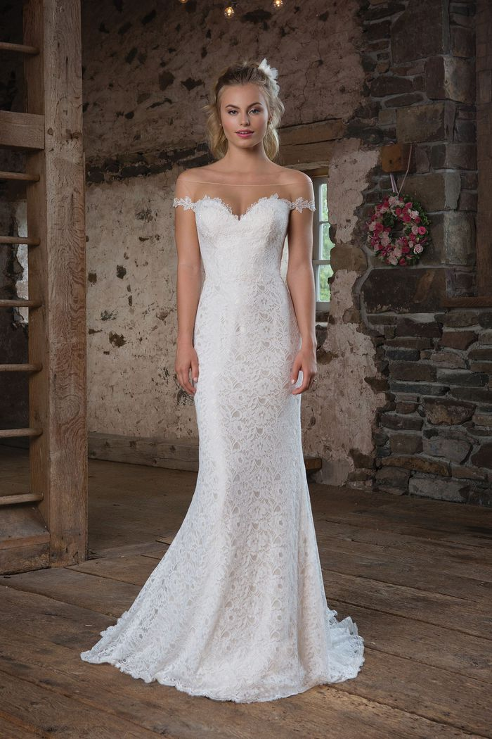 Sweetheart Gowns Style 1113 Allover Lace Fit and Flare with Off the Shoulder Illusion Neckline