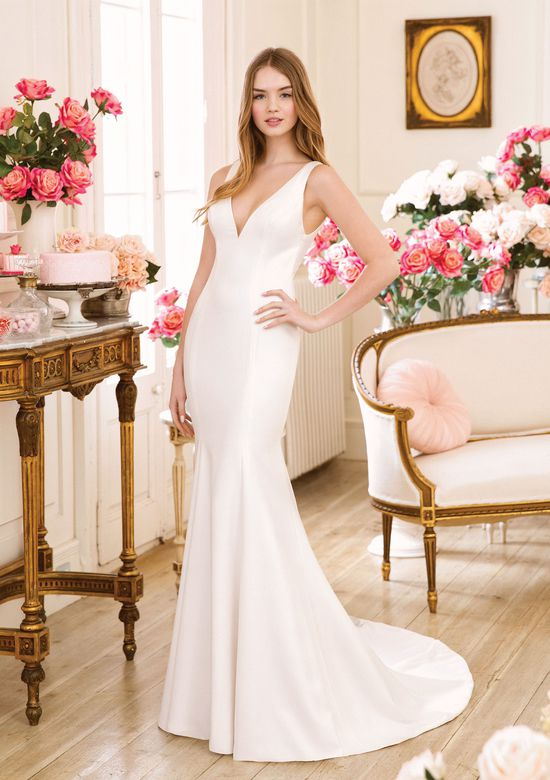 Sweetheart Gowns style 11018 Crepe Fit and Flare with Plunging V-Neck
