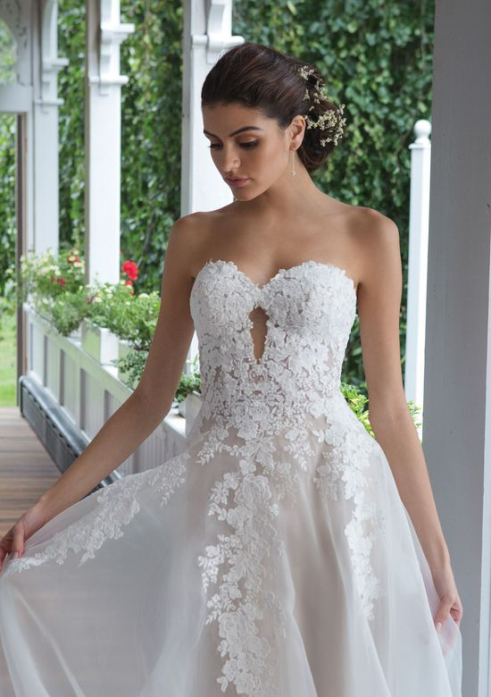 Sweetheart style 11090 Venice Lace Sweetheart Gown with Organza A-line Skirt