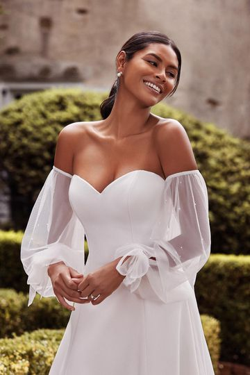 Sincerity Bridal Style 44268SL Off the Shoulder Tulle Blouson Sleeves with Floating Pearls