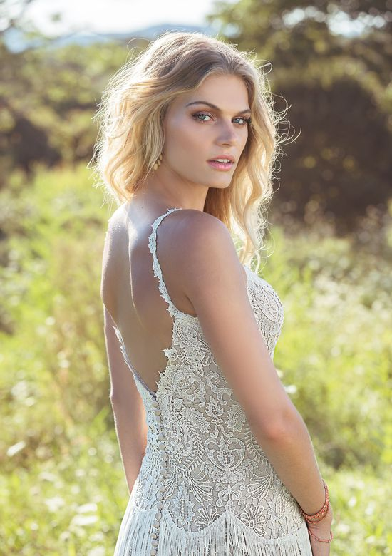 Lillian West Style 6495 Venice Lace Gown with Fringe Skirt