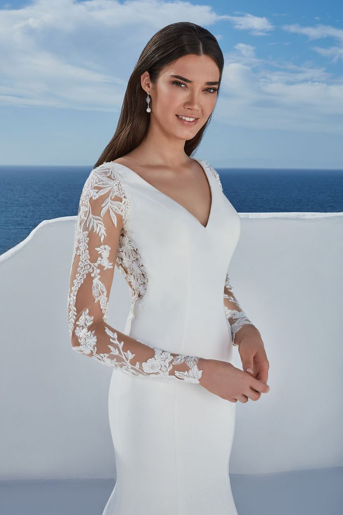 Justin Alexander Style 88186 Becca Long Sleeve Stretch Crepe Fit and Flare Dress with Shaped Train